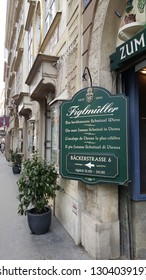 """Vienna. Austria. 10.01.2019 The """"Figlmüller"""" restaurant is the most important in Vienna. A touristic attraction for those who wish to taste a typical meat dish from Vienna"""