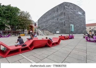 Vienna, Austria - 10.07.2014: Piazza in front of Mumuk Museum of contemporary art.