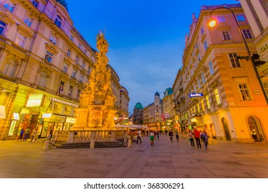 Vienna, Austria - 11 August, 2015: Walking around Singerstrasse and Graben area as evening lights set in, very charming, clean city streets.