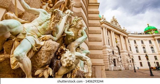 VIENNA, AUSTRIA - 12 September, 2018: Hofburg palace and ancient sculptures in Vienna
