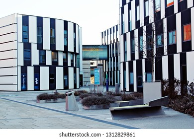 Vienna / Austria - 12/26/2018: WU: Vienna University of Economics and Business. Futuristic architecture designed by Atelier Hitoshi Abe. Black and white buildings. University without people.