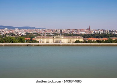 VIENNA, AUSTRIA: 13 August 2019 - Famous Schönbrunn Palace behind Water Feature