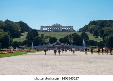 VIENNA, AUSTRIA: 13 August 2019 - Famous Schönbrunn Palace Gardens and Gloriette
