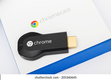 VIENNA, AUSTRIA, 14 July 2014:  Google Chromecast HDMI-Dongle on its packaging.