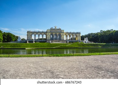 Vienna, Austria - 14 June, 2017:  The Gloriette houses a café and an observation deck which provides panoramic views of the Schonbrunn Palace and gardens