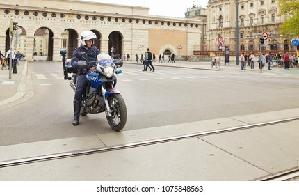 Vienna, Austria - 15 April 2018: Vienna police on a motorcycle