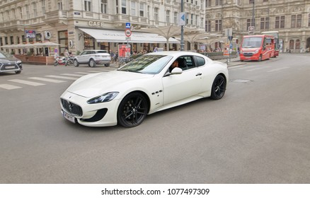 Vienna, Austria - 15 April 2018: White car Maserati on the city street