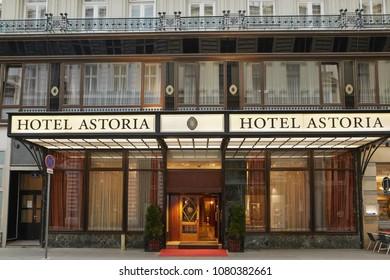 Vienna, Austria - 15 April 2018: Hotel Astoria Evening illumination