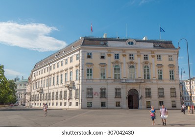 VIENNA, AUSTRIA 16 JUL 2014: The Federal Chancellery (Bundeskanzleramt) at Ballhausplatz, abbreviated BKA, is a federal agency, serving as the executive office of the Chancellor of Austria