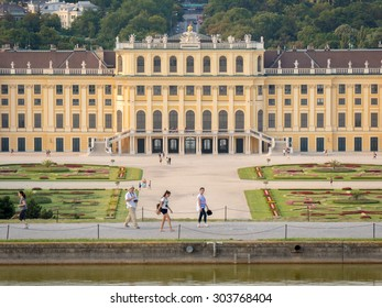 VIENNA, AUSTRIA - 17 JUL 2014: Schonbrunn Palace with gardens. The former imperial summer residence is a UNESCO World Heritage site and Austria's most-visited tourist attraction