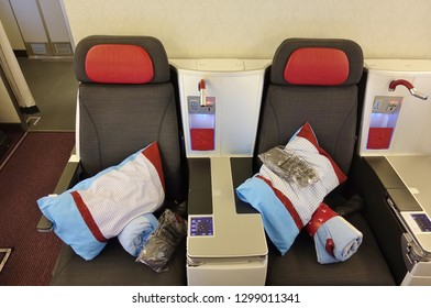 VIENNA, AUSTRIA -18 JAN 2019- Business class seat inside the Business cabin of an airplane from Austrian Airlines (OS).