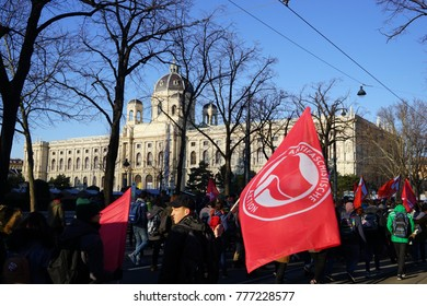 Vienna, Austria. 18th December 2017. People protest outside as the far-right Freedom Party joins the coalition government of Austria.
