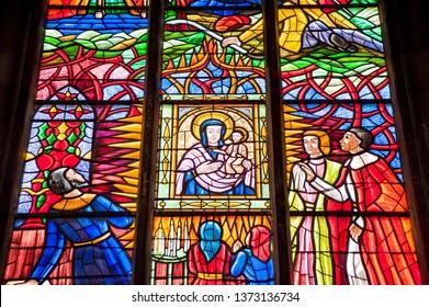 Vienna, Austria - 2 April 2019: stained glass window in famous Votiv Church (Votivkirche)