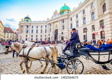 VIENNA, AUSTRIA – 20 September, 2018: Hofburg royal palace and horse carriage