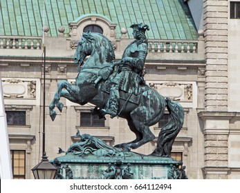 Vienna, Austria 21 june 2016: Statue of Prince Eugene of Savoy in front of Hofburg palace