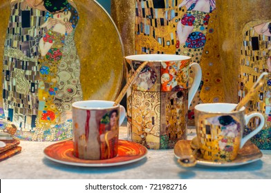 VIENNA, AUSTRIA - 21.Sept.2017: Klimt themed souvenirs for sale in the center of Vienna