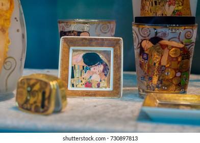 VIENNA, AUSTRIA - 21.Sept.2017: souvenirs for sale in Vienna with Klimt motifs