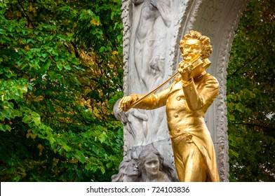 VIENNA, AUSTRIA - 21.Sept.2017:The gold-plated statue of Johann Strauss is the most photographed in Vienna, and is known around the world. City park, Vienna