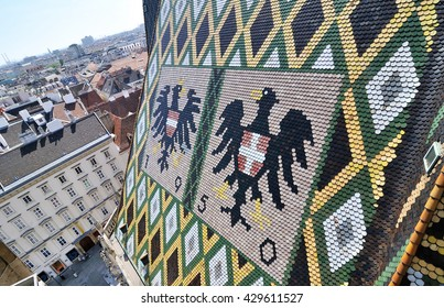 VIENNA, AUSTRIA - 22 APRIL 2016: Architectural detail roof with symbols of the St Stephen's Cathedral,Vienna, Austria.