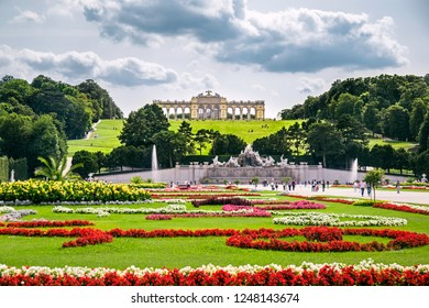 VIENNA, AUSTRIA - 22 Aug 2017: Glorietta in the garden of Schoenbrunn palace