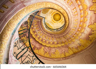 VIENNA, AUSTRIA, 22 AUGUST 2015: Spiral Staircase between the library and church in Melk Abbey - the most famous Benedictine monastery in Austria