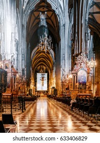 VIENNA, AUSTRIA, 22 MARCH 2017: Interior of the famous landmark of Vienna - Stephansdom cathedral