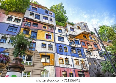 VIENNA, AUSTRIA - 23 Aug 2017: Hundertwasser house (Hundertwasserhaus) is an apartment house built after the idea and concept of Austrian artist Friedensreich Hundertwasser