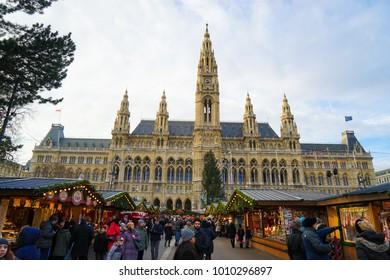 Vienna, Austria - 23 December 2017  - The Vienna Christmas World on Rathausplatz