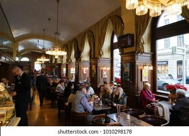 Vienna, Austria - 23 December 2017   - Interior of Cafe Schwarzenberg, one of Vienna's famous coffeehouses.