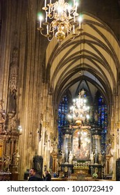 Vienna, Austria - 23 December 2017 - Interior of St. Stephen's Cathedral / stephansdom