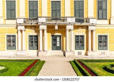 VIENNA, AUSTRIA - 23 JULY, 2019: Schonbrunn Palace - German: Schloss Schonbrunn. Architectural detail of yellow facade