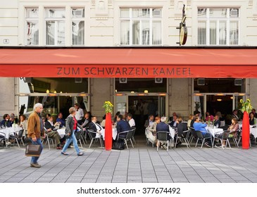 VIENNA, AUSTRIA -24 JUNE 2015- The landmark coffee house Zum Schwarzen Kameel (at the black camel) was founded in Vienna in 1618. It is still a popular cafe with locals and tourists today.