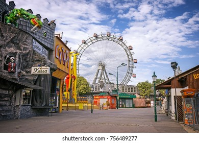 VIENNA, AUSTRIA - 25 Aug 2017: The Wurstelprater amusement park Prater