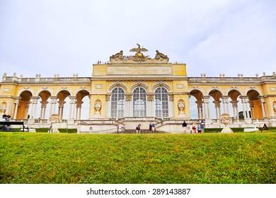 VIENNA, AUSTRIA, 26 AUGUST: View on Gloriette structure in Schonbrunn Palace in Vienna, Austria on 26 AUGUST 2012