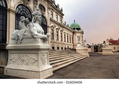Vienna, Austria- 28 August 2015: sculptures at the entrance palace Upper Belvedere on  28 August in Vienna, Austria built by Johann Lukas von Hildebrandt as summer residence for Prince Eugene of Savoy