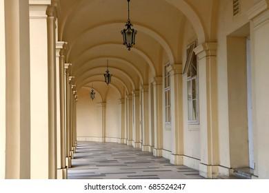Vienna, Austria - 28 Jun 2017 : Corridor of a building in Schonbrunn Palace
