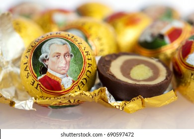 VIENNA, AUSTRIA - 29 AUGUST 2015: the Mozartkugel, a sweet confection made of chocolate and marzipan, is a culinary specialty of Salzburg named after the famous musician Wolfgang Amadeus Mozart