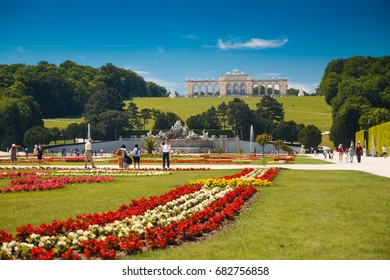 Vienna, Austria - 29 May, 2017: The Gloriette pavilion on the hill with gardens in the Schonbrunn Palace Garden