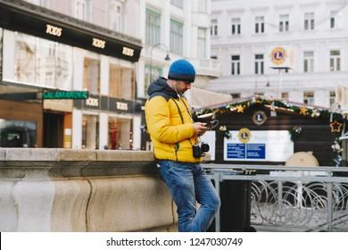 Vienna, Austria  29/11/2018: Man with the phone in Vienna Streets