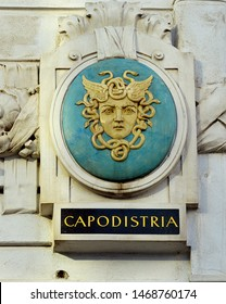 VIENNA, AUSTRIA - 31 MARCH 2019: The gorgon head of Medusa, a symbol for Capodistria (now Croatian, Koper) on the side of a former Austro-Hungarian ministry in Vienna.