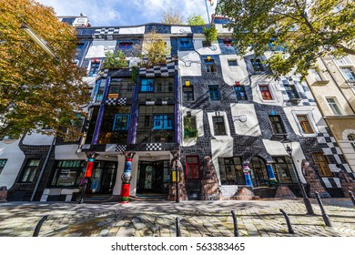 VIENNA, AUSTRIA - 3RD OCTOBER 2016: The outside of KUNST HAUS WIEN (Hundertwasser) museum in Vienna during the day.