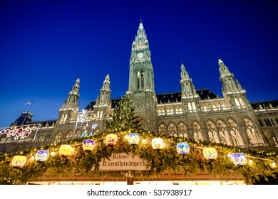 VIENNA, AUSTRIA - 6 DECEMBER 2016: The traditional Christmas Market in front of the City Hall (Rathaus), Austria,Vienna