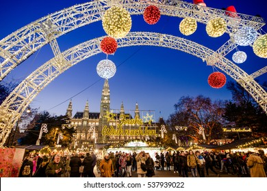 VIENNA, AUSTRIA - 6 DECEMBER 2016: The traditional Christmas Market with decorations in front of the City Hall (Rathaus), Wien, Austria, Europe