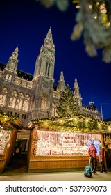 VIENNA, AUSTRIA - 6 DECEMBER 2016: Christmas market in fornt of the City Hall (Rathaus), Austria, Wien