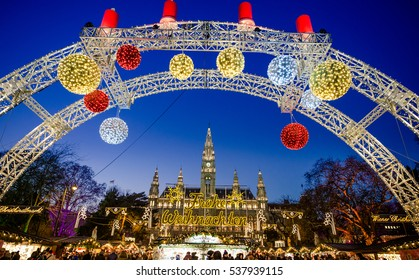 VIENNA, AUSTRIA - 6 DECEMBER 2016: People at the traditional Christmas Market at the City Hall (Rathaus), Wienn, Austria, Europe