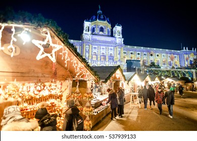 VIENNA, AUSTRIA - 6 DECEMBER 2016: People visiting Maria Theresa Square (Platz) Christmas Market