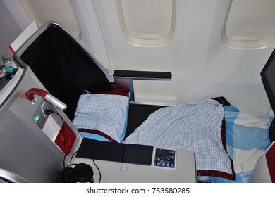 VIENNA, AUSTRIA -6 NOV 2017- Business class seat inside the Business cabin of an airplane from Austrian Airlines (OS).