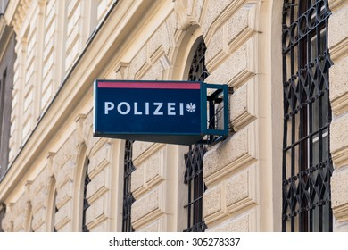 VIENNA, AUSTRIA - 8TH AUGUST 2015: A sign on a building for a police station in Vienna.