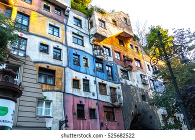 VIENNA, AUSTRIA - 9 OCT Residential complex Hundertwasserhau, October 9 ,2016 in Vienna, Austria. A view of the outside of buildings, work of the painter Friedensreich Hundertwasser.