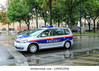 Vienna,  Austria, 9.07 2017. The car of Austrian Federal Police  on the street of Vienna during the rain. Bundespolizei